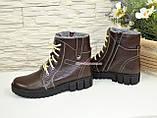 Жіночі демісезонні черевики на шнурівці, натуральна шкіра флотар коричневого кольору, фото 3