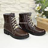 Жіночі демісезонні черевики на шнурівці, натуральна шкіра флотар коричневого кольору, фото 4
