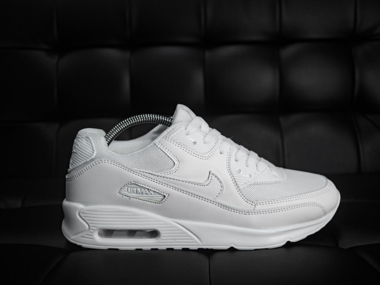 Кроссовки мужские Nike Air Max 90 белые топ реплика