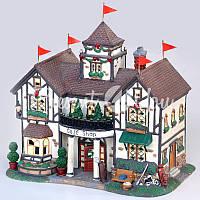 Новогодний декор домик «Гольф клуб», фарфор, с диодной подсветкой, h-23,5x23x14 см.