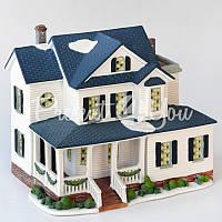 Новогодний декор домик, фарфор, с диодной подсветкой, h-16,5x20x15 см.