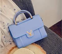 Женская сумочка маленькая голубая через плечо, фото 1
