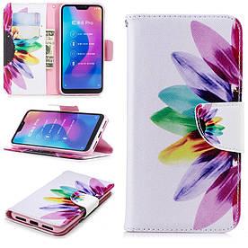 Чехол книжка для Xiaomi Mi A2 Lite / Xiaomi Redmi 6 Pro боковой с отсеком для визиток, Цветик семицветик