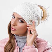 Молочная вязаная женская шапка, фото 1