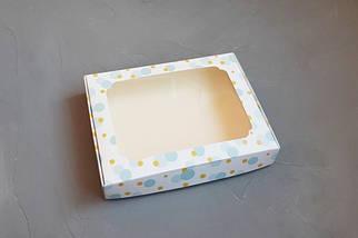 """Картонная коробка для пряников """"Голубые пузыри с окном 15*21*3 см"""" (5 шт)"""