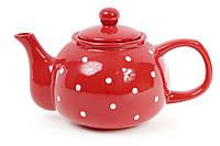 Чайник 1000мл, цвет - красный в белый горошек BonaDi 593-218