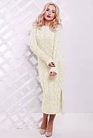 Длинное Вязаное Платье на Осень Молоко р. 42-50