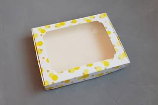 """Картонная коробка для пряников """"Желтые пузыри с окном 15*21*3 см"""" (5 шт)"""