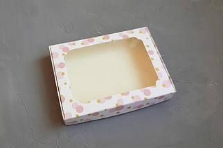 """Картонная коробка для пряников """"Розовые пузыри с окном 15*21*3 см"""" (5 шт)"""