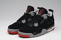 Мужские кроссовки Air Jordan Retro 4 (Black/Red), фото 1