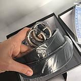 Ремінь Гуччі чорний з сріблом, 3.4 см унісекс, пояс, натуральна шкіра, фото 5