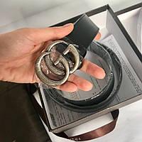 Ремень Гуччи чёрный, с серебром, 3.4 см, пояс, натуральная кожа
