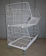 Полка двох'ярусна на колесах (кошик стелажу складського)