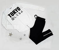 """Костюм спортивный """"Must have!"""" на мальчика, двунитка, размер 152-170,  полномерные, белый+черный"""