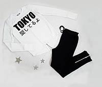 """Костюм спортивный """"Must have!"""" на мальчика, двунитка, размер 152-170,  полномерные, белый+черный, фото 1"""