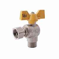 SD FORTE Кран шаровой угловой с накидной гайкой для газа 1/2в х 1/2н   SF225G15