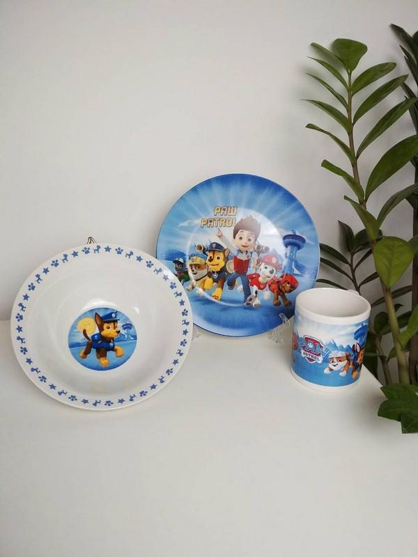 Детский набор посуды из керамики Щенячий патруль
