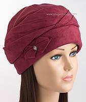 Зимняя женская шапка Чалма из искусственной замши бордового цвета