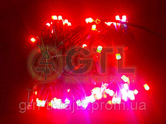 Гирлянда світлодіодна Flash-String ЯУ UASTANDART зеленый кабель, Красный з х/б флешем 10м 100д 24В