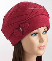 Красивая женская шапка Чалма красного цвета
