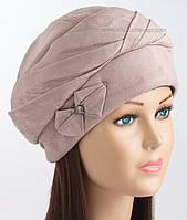Женская шапка зимняя Чалма пудрового цвета