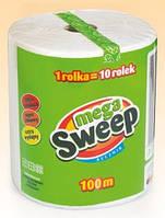 Рулонные полотенца Mega Sweep 100м двухслойные