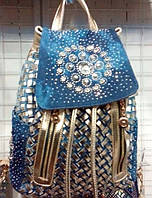Новое поступление женских сумок, рюкзаков из джинсовой ткани, с украшениями - камни, стрази.