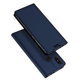 Чехол книжка для Xiaomi Redmi Note 6 боковой с отсеком для визиток, DUX DUCIS, темно-синий