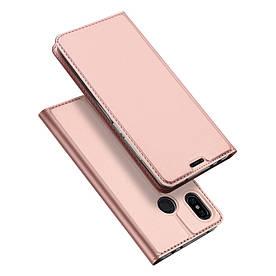 Чехол книжка для Xiaomi Redmi Note 6 боковой с отсеком для визиток, DUX DUCIS, золотисто-розовый