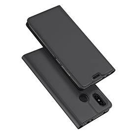 Чехол книжка для Xiaomi Redmi Note 6 боковой с отсеком для визиток, DUX DUCIS, темно-серый