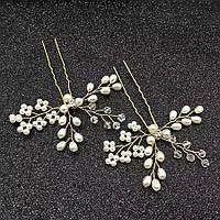 Весільна шпилька з перлами ювелірна біжутерія позолота 47130с, фото 1