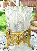 Шикарная ваза! Модерн! Бронза,хрусталь! Нач.ХХ век
