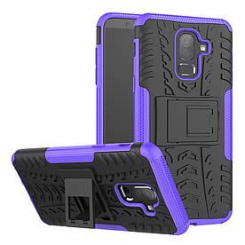 Чехол накладка для Samsung Galaxy J8 2018 J810 противоударный с подставкой, фиолетовый