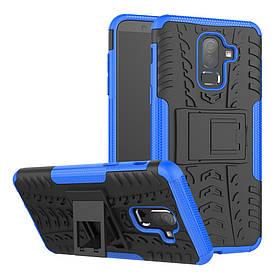 Чехол накладка для Samsung Galaxy J8 2018 J810 противоударный с подставкой, синий