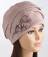 Красивая зимняя шапочка Дели цвет пудра