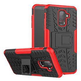 Чехол накладка для Samsung Galaxy J8 2018 J810 противоударный с подставкой, красный