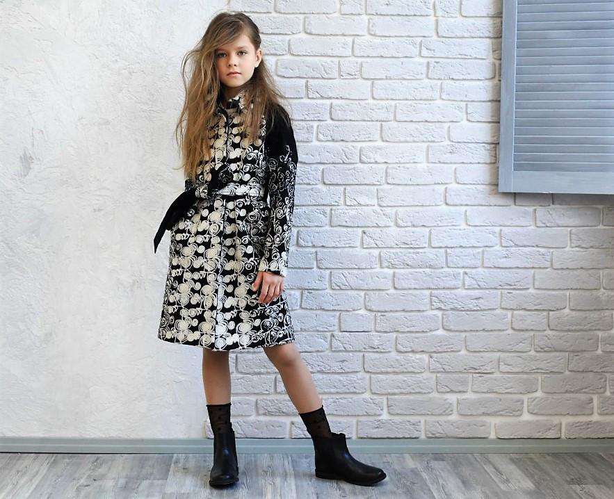 Шерстяное пальто для девочки тм Моне р-ры 128,146