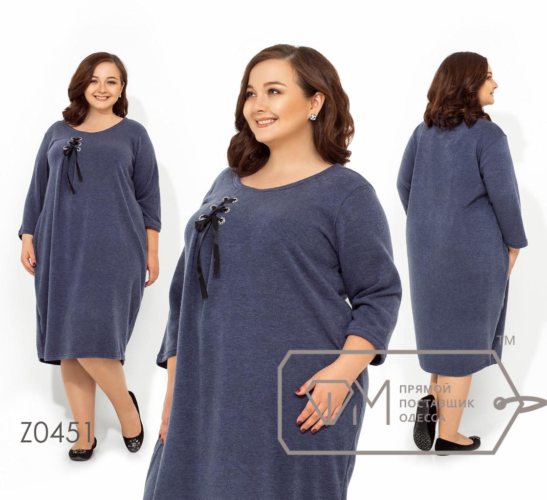 Платье-кокон миди из ангоры с круглым вырезом и асимметричной корсажной драпировкой лифа на ленте Z0451
