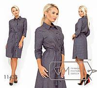 Платье-рубашка миди прямое из коттона под пояс с рукавами 3/4, застёжкой по всей длине и боковыми разрезами 11433
