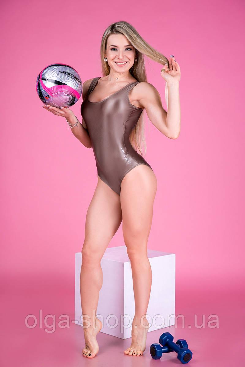 Купальник женский сдельный слитный спортивный сплошной закрытый бассейн цельный Totalfit K1-С22 золотой