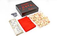 Русское лото настольная игра с деревянными бочонками в коробке для взрослых и детей Zelart Черный (IG-8823)