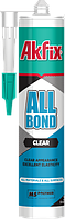 Akfix MS-полимер гибридный клей-герметик ALL BOND Clear, прозрачный.
