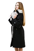 пальто с меховым воротником-капюшоном
