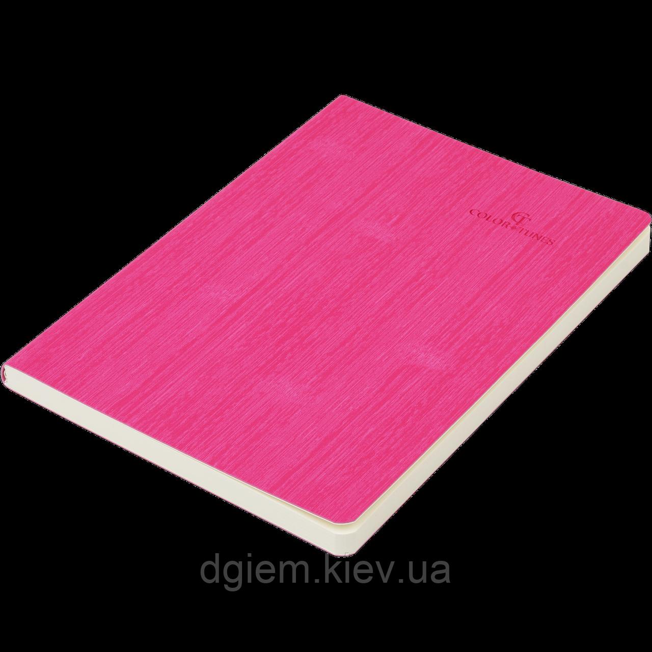 Блокнот ділової COLOR TUNES А5 96арк. лина, позов. шкіра, рожевий