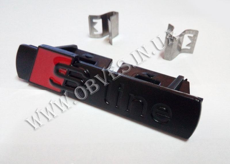Эмблема S-Line в решетку Audi A3 (черная)