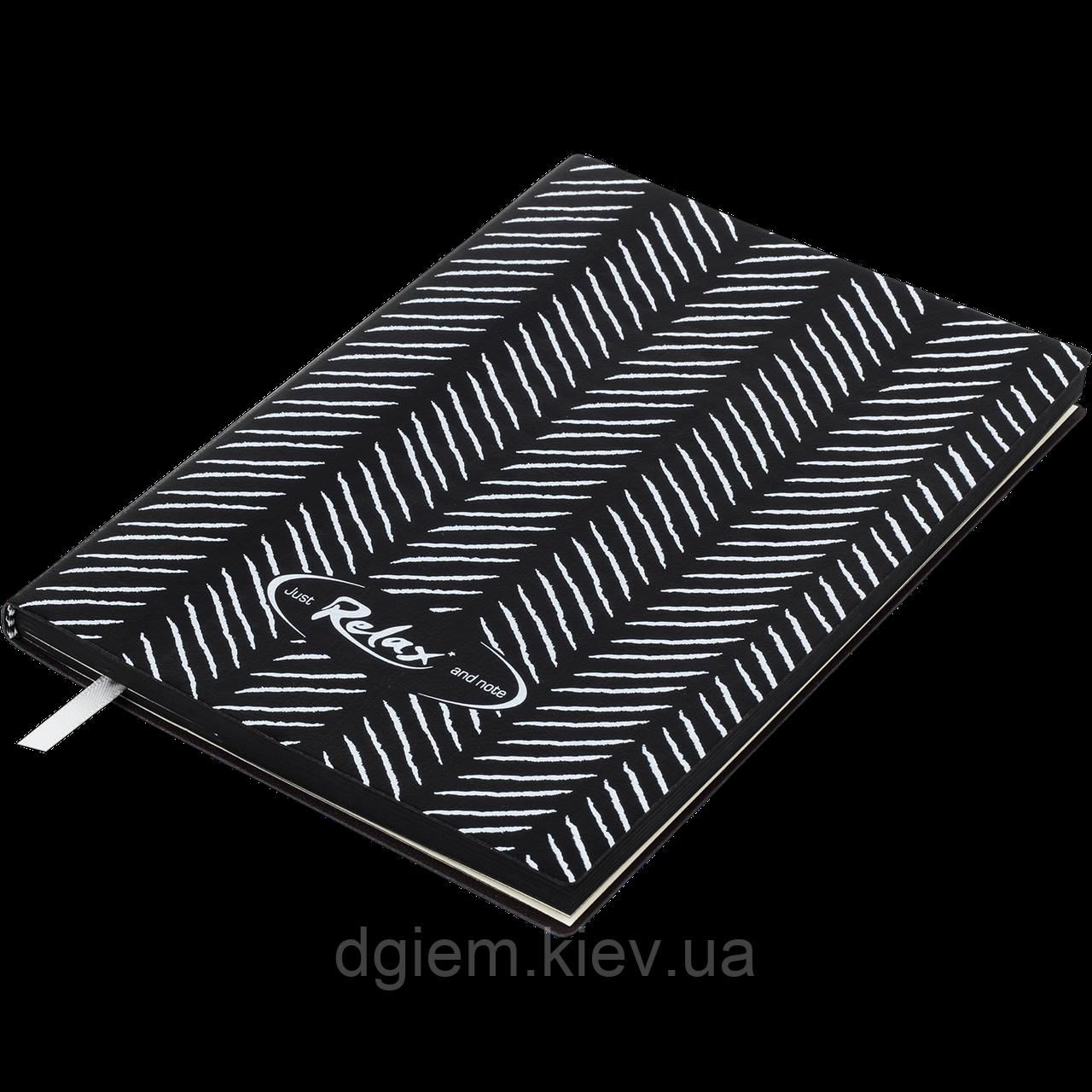 Блокнот ділової RELAX А5 96арк. лінія, що позов. шкіра, чорний