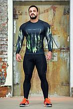 Рашгард мужской с длинным рукавом + Totalfit RM316 XXL Черный с зеленым