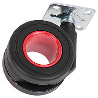 Ролик пластиковый с площадкой Ferro Fiori R 10040 d=65, нагрузка 40 кг хром|черный+красный