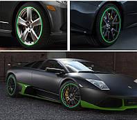 Зеленые наклейки на колесо (Авто, мото, скутер) 14-15 дюймов \ Код KS07002