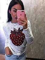 Женская кофточка с рисунком клубника, тонкая вязка. Турция,